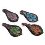 Pendants Inner Lampwork Lule, Lot, asnjë, lule e brendshme, ngjyra të përziera, 25x48x11.20mm, : 6mm, 50PC/Qese,  Qese