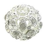 Beads bizhuteri Diamant i rremë, Alloy zink, Rondelle, Ngjyra argjend praruar, me diamant i rremë, asnjë, , nikel çojë \x26amp; kadmium falas, 17.50x17.50x15mm, : 2.5mm, 30PC/Qese,  Qese