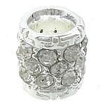Beads bizhuteri Diamant i rremë, Alloy zink, Kolonë, Ngjyra argjend praruar, me diamant i rremë, asnjë, , nikel çojë \x26amp; kadmium falas, 11x11x11.50mm, : 5.5mm, 50PC/Qese,  Qese