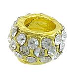 Beads bizhuteri Diamant i rremë, Alloy zink, Rondelle, ngjyrë ari praruar, me diamant i rremë, asnjë, , nikel çojë \x26amp; kadmium falas, 12x12x7.50mm, : 6mm, 50PC/Qese,  Qese