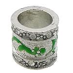 Alloy zink, Kolonë, Ngjyra antike argjendi praruar, me diamant i rremë, e gjelbër, , nikel çojë \x26amp; kadmium falas, 14x14x13mm, : 9.5mm, 50PC/Qese,  Qese