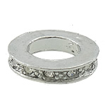 Alloy zink, Rolo, ngjyrë platin praruar, me diamant i rremë, asnjë, , nikel çojë \x26amp; kadmium falas, 20x20x4mm, : 11mm, 100PC/Qese,  Qese