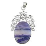 Agat pendants bizhuteri, dantella agat, with Tunxh, Oval Flat, ngjyrë platin praruar, asnjë, 27.50x40x6mm, : 4x5mm, 20PC/Qese,  Qese