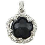 Pendants Zi agat, Black agat, with Tunxh, Lule, ngjyrë platin praruar, me diamant i rremë, 23.50x23.50x20mm, : 4x5mm, 20PC/Qese,  Qese