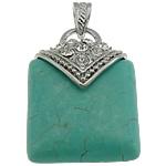 Bruz Natyrore, with Tunxh, Drejtkëndësh, ngjyrë platin praruar, me diamant i rremë, e gjelbër, 30x42x12mm, : 7x4.5mm, 20PC/Shumë,  Shumë
