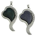 Pendants Indian agat, Zemër, ngjyrë platin praruar, me diamant i rremë, 28x53x8mm, : 5x4mm, 10PC/Shumë,  Shumë