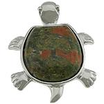 Pendants gur i çmuar bizhuteri, Unakite, with Tunxh, Breshkë, ngjyrë platin praruar, asnjë, 33x42x9mm, : 6x4mm, 20PC/Shumë,  Shumë