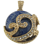 Pendants gur i çmuar bizhuteri, Sodalitet, with Tunxh, Round Flat, ngjyrë ari praruar, me diamant i rremë, 28x32x11.50mm, : 7x4.5mm, 10PC/Shumë,  Shumë