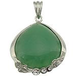 Pendants aventurine, Aventurine jeshile, with Tunxh, Lot, ngjyrë platin praruar, me diamant i rremë, 34x40x9.50mm, : 9x6mm, 20PC/Shumë,  Shumë