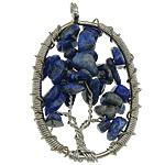 Natyrore lapis lazuli, with Tunxh, Oval Flat, ngjyrë platin praruar, asnjë, 33x52x10mm, : 4.5mm, 20PC/Shumë,  Shumë