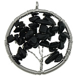 Pendants Zi agat, Black agat, Round Flat, ngjyrë platin praruar, asnjë, 47x56x10mm, : 5mm, 20PC/Shumë,  Shumë