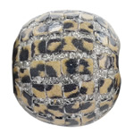 Aluminum Slice Indonesia Beads, Drum, with platinum color brass core, leopard pattern, 21x19mm, Hole:Approx 3MM, Sold by PC