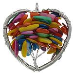Pendants Shell, Predhë, Zemra Flat, i lyer, i uritur, multi-colored, 48x51x17mm, : 6mm, 20PC/Shumë,  Shumë