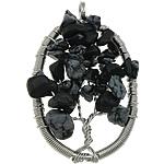 Pendants gur i çmuar bizhuteri, Snowflake Obsidian, Oval Flat, ngjyrë platin praruar, asnjë, 32x55x10mm, : 5mm, 20PC/Shumë,  Shumë