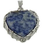 Pendants gur i çmuar bizhuteri, Sodalitet, with Tunxh, Zemër, ngjyrë platin praruar, me diamant i rremë, 33x36x10mm, : 7x4mm, 20PC/Shumë,  Shumë