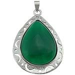 E gjelbër varëse agat, Jeshile agat, with Tunxh, Lot, ngjyrë platin praruar, asnjë, 33x49x8mm, : 5x4mm, 20PC/Shumë,  Shumë