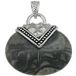Pendants gur i çmuar bizhuteri, Black Stone Silk, with Tunxh, Oval Flat, ngjyrë platin praruar, nxihem, 39x40x12mm, : 8x5mm, 20PC/Shumë,  Shumë
