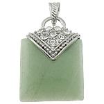 Pendants aventurine, Aventurine jeshile, with Tunxh, Drejtkëndësh, ngjyrë platin praruar, me diamant i rremë, 30x42x12mm, : 7x4.5mm, 20PC/Shumë,  Shumë