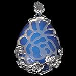 Deti Pendants opal, Deti Opal, with Tunxh, Lot, ngjyrë platin praruar, asnjë, asnjë, 26x37x9.50mm, : 7x4mm, 20PC/Shumë,  Shumë