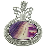 Agat pendants bizhuteri, Purple agat, with dantella agat & Tunxh, Vazo, ngjyrë platin praruar, asnjë, 35x45x8mm, : 6x5mm, 20PC/Shumë,  Shumë