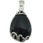 Pendants Zi agat, Black agat, Lot, ngjyrë platin praruar, asnjë, 23x46x10mm, : 6mm, 20PC/Shumë,  Shumë