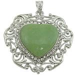 Pendants aventurine, Aventurine jeshile, Zemër, ngjyrë platin praruar, me diamant i rremë, 51x52x8mm, : 7x5mm, 10PC/Shumë,  Shumë