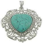 Varëse Bruz, Bruz sintetike, Zemër, ngjyrë platin praruar, me diamant i rremë, e gjelbër, 51x52x8mm, : 7x5mm, 10PC/Shumë,  Shumë
