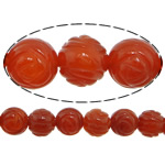 Beads Kuq Natyrore agat, Red agat, Lule, Gdhendur, asnjë, 10mm, : 1.5mm, :14Inç, 37PC/Fije floku,  14Inç,