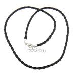 Cord gjerdan Moda, PU, with Hekur, ngjyrë platin praruar, e zezë, 3mm, 11x6mm, :19Inç, 100Fillesat/Shumë,  Shumë