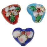 Beads Smooth Cloisonne, Zemër, i përzier, 13x11x6mm, : 2mm, 100PC/Qese,  Qese