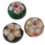 Beads Smooth Cloisonne, Round Flat, i përzier, 14x9mm, : 1.5mm, 50PC/Qese,  Qese