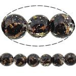 Rërë Beads Gold Lampwork, Round, asnjë, rërë ari, e zezë, 15mm, : 3mm, 50PC/Shumë,  Shumë