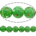 Rërë Beads Gold Lampwork, Round, asnjë, rërë ari, e gjelbër, 15mm, : 3mm, 50PC/Shumë,  Shumë