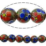 Rërë Beads Gold Lampwork, Round, asnjë, rërë ari, multi-colored, 12mm, : 2mm, 20PC/Shumë,  Shumë