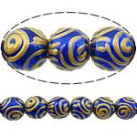 Beads dorë Lampwork, Round, brushwork, asnjë, asnjë, 12mm, : 3mm, 10PC/Shumë,  Shumë
