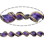 Beads dorë Lampwork, Kthesë, brushwork, asnjë, vjollcë, 17x13x7mm, : 2mm, 10PC/Shumë,  Shumë