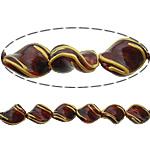 Beads dorë Lampwork, Kthesë, brushwork, me gunga, kuqe të gjakut, 17x13x7mm, : 2mm, 10PC/Shumë,  Shumë