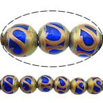 Beads dorë Lampwork, Round, brushwork, asnjë, blu, 12mm, : 2.5mm, 10PC/Shumë,  Shumë