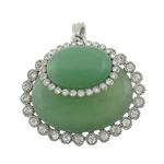 Pendants aventurine, Aventurine jeshile, Oval Flat, ngjyrë platin praruar, me diamant i rremë, 49.50x45x16mm, : 5x8mm, 10PC/Shumë,  Shumë