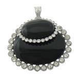 Pendants Zi agat, Black agat, Oval Flat, ngjyrë platin praruar, me diamant i rremë, 49.50x45x16mm, : 5x8mm, 10PC/Shumë,  Shumë