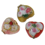 Beads filigran Cloisonne, Zemër, i përzier, 10x9x6mm, : 1.5mm, 100PC/Qese,  Qese