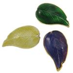 Pendants Cloisonne, Gjethe, i përzier, 16x27x8mm, : 2x2mm, 30PC/Qese,  Qese