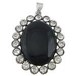 Pendants Zi agat, Black agat, with Tunxh, Oval Flat, ngjyrë platin praruar, me diamant i rremë, 45x57x10mm, : 4x7mm, 10PC/Shumë,  Shumë