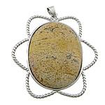 Pendants gur i çmuar bizhuteri, Picture Jasper, Lule, ngjyrë platin praruar, asnjë, 51x54x9mm, : 4x6mm, 20PC/Shumë,  Shumë