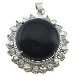 Pendants Zi agat, Black agat, Round Flat, ngjyrë platin praruar, me diamant i rremë, 32x37x12mm, : 4x6mm, 20PC/Shumë,  Shumë