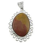 Pendants gur i çmuar bizhuteri, Verdhë veze Stone, Oval Flat, ngjyrë platin praruar, asnjë, 36x54x9mm, : 6x10mm, 20PC/Shumë,  Shumë