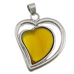Agat pendants bizhuteri, Agat Verdha, Zemër, ngjyrë platin praruar, asnjë, 30x35x7mm, : 4x7mm, 20PC/Shumë,  Shumë