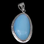 Deti Pendants opal, Deti Opal, with Tunxh, Oval Flat, ngjyrë platin praruar, asnjë, asnjë, 30x50x9mm, : 5x12mm, 20PC/Shumë,  Shumë