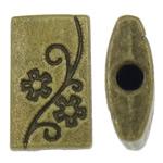 Beads aliazh zink Flat, Alloy zink, Drejtkëndësh, Ngjyra antike bronz i praruar, asnjë, asnjë, , nikel çojë \x26amp; kadmium falas, 7.50x13x3mm, : 1.5mm, 830PC/KG,  KG