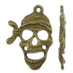 Pendants Skull Alloy zink, Kafkë, Ngjyra antike bronz i praruar, asnjë, asnjë, , nikel çojë \x26amp; kadmium falas, 19x27x2mm, : 1.5mm, 555PC/KG,  KG